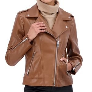 🌈NWT Sebby Brown Vegan Leather Moto Jacket